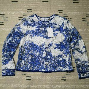 English Factory Blue Floral Lace Blouse Medium NWT